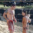 Alex O'Loughlin sur une plage d'Honolulu avec sa compagne Malia Jones et leur fils,  le 14 décembre 2013.