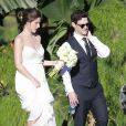 Justin Bartha et Lia Smith - Justin Bartha se marie avec Lia Smith lors d'une cérémonie à Hawaii, le 4 janvier 2014.