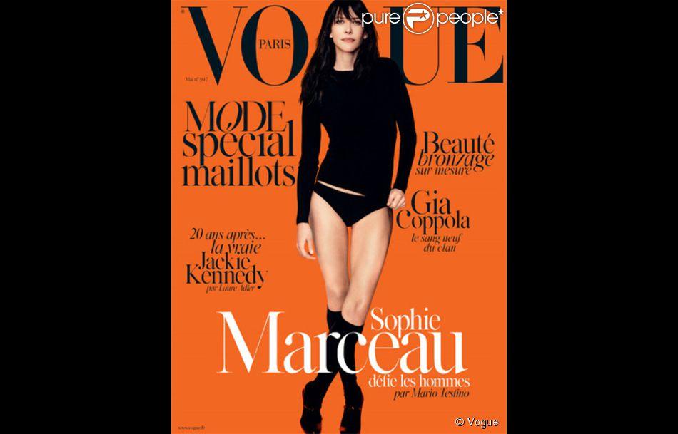 Sophie Marceau en Une du magazine Vogue, photoshopée.