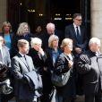 Sophie Barjac, Elisa Servier lors des obsèques du réalisateur Michel Lang en l'église Notre-Dame de Grâce de Passy à Paris le 29 avril 2014