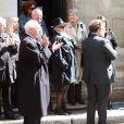 La famille de Michel Lang lors des obsèques du réalisateur Michel Lang en l'église Notre-Dame de Grâce de Passy à Paris le 29 avril 2014