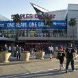 Les fans des Clippers ont adressé quelques messages à leur propriétaire, Adam Sterling, suspendu à vie par la NBA après avoir tenu des propos racistes, juste avant le match 5 de leur équipe face aux Warriors de Golden State, le 29 avril 2014 au Staple Center de Los Angeles
