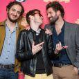 """"""" David (Palmashow), PV Nova et Grégoire (Palmashow) à la soirée Palmashow organisée par D8, le mardi 29 avril 2014. """""""
