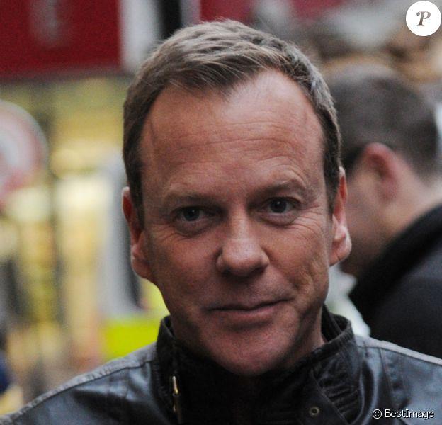 """Kiefer Sutherland après sa journee de tournage de la serie """"24 heures chrono"""" à Londres, le 22 janvier 2014."""