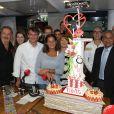 Stéphanie de Monaco et tous ses invités de l'émission Jungle Fight ont soufflé les bougies du cinquième anniversaire de l'émission le 8 mai 2014, au lycée technique et hôtelier de Monaco