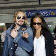 Zoe Saldana et son chéri Marco Perego arrivent à Nice, le 13 mai 2014.