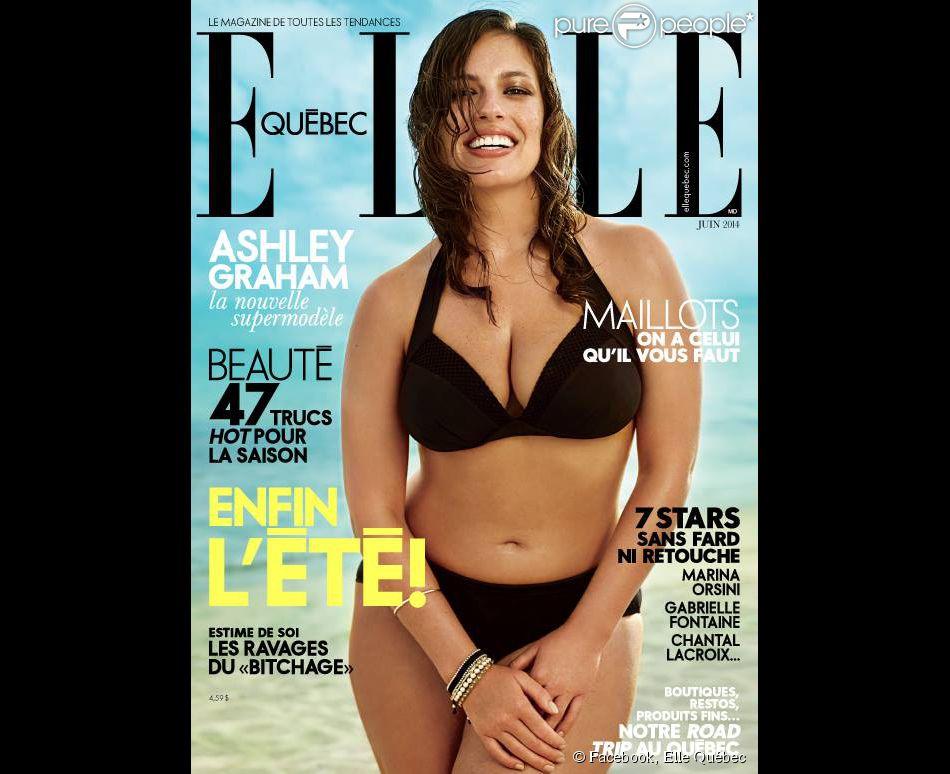 Le mannequin Ashley Graham, en couverture du numéro de juin 2014 d'Elle Québec.