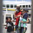 Swizz Beatz, son fils Kasseem, Alicia Keys et leur fils Egypt à Saint-Barthélemy, le 23 mars 2014.