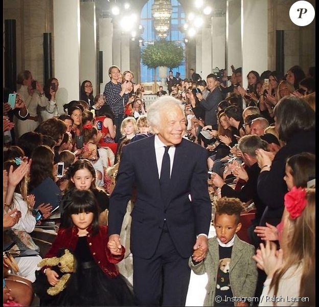 Egypt, le fils d'Alicia Keys et Swizz Beatz, a participé à son premier défilé de mode pour la ligne enfants de Ralph Lauren. New York, le 19 mai 2014.