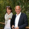 Jean-Michel Apathie et sa femme aux Internationaux de France de tennis de Roland-Garros à Paris, le 1er juin 2014.
