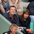 Jean-Luc Reichmann et sa compagne Nathalie aux Internationaux de France de tennis de Roland Garros à Paris le 1er juin 2014.01/06/2014 - Paris