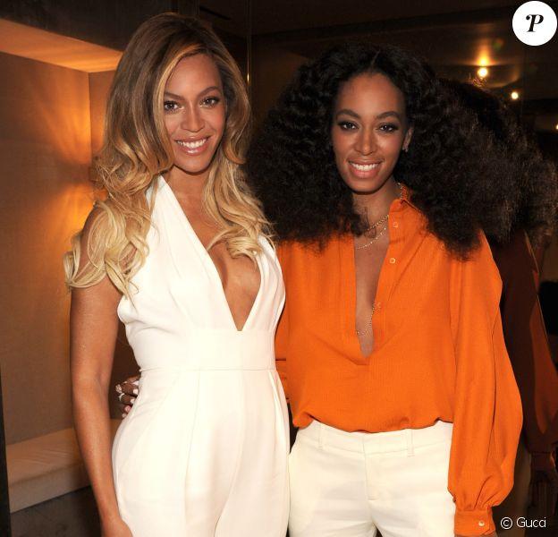 Beyoncé et sa soeur Solange Knowles, réconciliées à la soirée Chime for Change de Gucci le 3 juin 2014