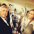 Carlo Ancelotti avec sa future femme Mariann après la victoire en Ligue des Champions le 24 mai 2014.