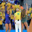 Jennifer Lopez, Pitbull et Claudia Leitte lors de la cérémonie d'ouverture du Mondial 2014 à São Paulo, le 12 juin 2014.