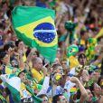 Ambiance lors du match d'ouverture de la Coupe du Monde entre le Brésil et la Croatie à Sao Paulo au Brésil, le 12 juin 2014.