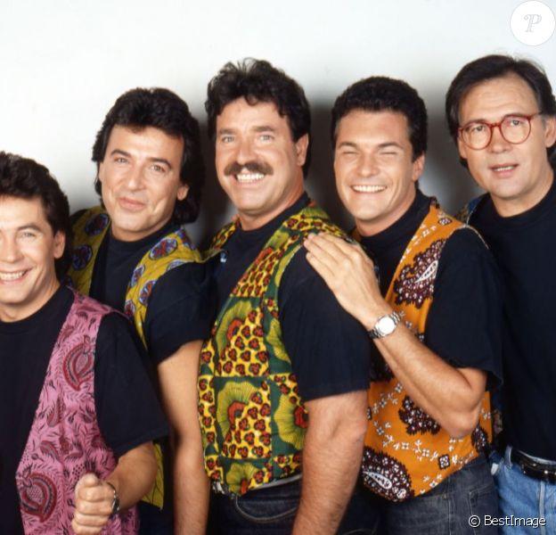 Les Musclés au grand complet : Bernard Minet, Framboisier, Rémy, Eric et René.