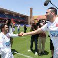 """Jamel Debbouze et Adil Rami - Un """"Charity Game du Marrakech du Rire 2014"""", match de foot caritatif, a été organisé, permettant de reverser 300 000 dirhams (27 000 euros) aux associations """"Al Karam"""" et """"L'Heure Joyeuse"""" le 15 juin 2014."""