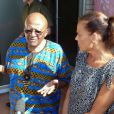 La princesse Stéphanie de Monaco rencontre l'archevêque sud-africain Desmond Tutu lors de sa visite à Cape Town en décembre 2012. La princesse Stéphanie de Monaco a fait ce déplacement dans le cadre de sa mission de représentante spéciale de l'ONUSIDA.
