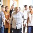 Exclusif - La princesse Stéphanie de Monaco reçoit l'archevêque sud-africain Desmond Tutu au siège de l'association Fight Aids Monaco à Monaco, le 6 juin 2014. Pendant cette visite de l'association de la princesse Stéphanie de Monaco, Desmond Tutu a rencontré certains membres de Fight Aids Monaco.