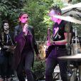 """Exclusif - Sandrine Quétier en concert dans le cadre de la Fête de la Musique avec son groupe """"The Jokers"""" (composé de Santi, Ludo et Thomas) au Mandarin Oriental à Paris. Le 21 juin 2014."""