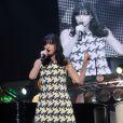 """La chanteuse Lio en concert dans le cadre de la tournée """" Stars 80 """" au Zénith Paris, le 12 avril 2013."""