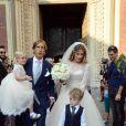 Massimo Ambrosini lors de son mariage religieux avec sa belle Paola Angelini, entouré de leurs enfants Federico et Angelica, en l'église Santa Maria Del Carmine, le 21 juin 2014