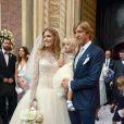 Massimo Ambrosini lors de son mariage religieux avec Paola Angelini, entouré de leurs enfants Federico et Angelica, en l'église Santa Maria Del Carmine, le 21 juin 2014