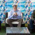 Luc Barruet, créateur du festival, Bill Gates et Antoine de Caunes - Festival Solidays 2014 à Paris le 27 juin 2014.
