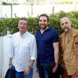 Frederic Bouraly, David Mora et Pierre Lou Rajot assistent à la première du film Prêt à tout lors du 11e festival Les Hérault du cinéma et de la télé 2014 au Cap d'Agde, le 4 juillet 2014.
