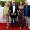 Marie-Christine Adam, Jean-Christophe Bouvet, Marianne Borgo et Laurent Spielvogel assistent à la première du film Prêt à tout lors du 11e festival Les Hérault du cinéma et de la télé 2014 au Cap d'Agde, le 4 juillet 2014.