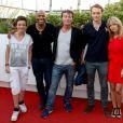 Axelle Bachy, Denis Marechal, Dominic Bachy, Roby Schinasi et Jessica Morali assistent à la première du film Prêt à tout lors du 11e festival Les Hérault du cinéma et de la télé 2014 au Cap d'Agde, le 4 juillet 2014.