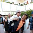 Daniel Prevost et Michel La Rosa assistent à la première du film Prêt à tout lors du 11e festival Les Hérault du cinéma et de la télé 2014 au Cap d'Agde, le 4 juillet 2014.