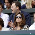 Mirka Federer lors de la finale de son époux Roger Federer opposé à Novak Djokovic, le 6 juillet 2014 au All England Lawn Tennis and Croquet Club de Wimbledon
