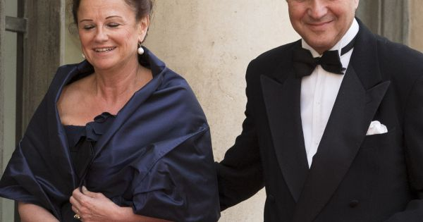 laurent fabius et sa compagne marie france marchand baylet l elys e paris le 6 juin 2014. Black Bedroom Furniture Sets. Home Design Ideas