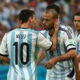 Lionel Messi et Javier Mascherano à Porto Alegre le 25 juin 2014.