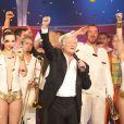 """Exclusif - Patrick Sébastien lors de l'enregistrement de l'émission """"Le plus grand cabaret du monde"""" le 29 avril 2014."""