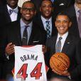 Barack Obama et LeBron James à la Maison Blanche pour célébrer le titre du Heat, le 28 janvier 2013 à Washington