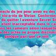 Communiqué officiel de TF1, diffusé sur le compte Twitter officiel de Secret Story 8, ce mercredi 23 juillet 2014.
