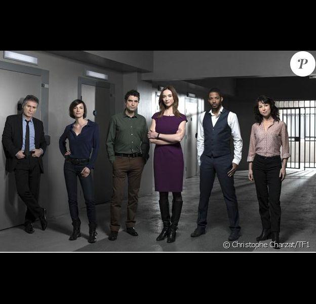 L'équipe du RIS Police scientifique lors de la 9e saison : Coraly Zahonero, Delphine Rollin, Jean-Luc Joseph, Laetitia Fourcade, Laurent Olmedo