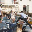 Pamela Anderson fait du bateau avec son mari Rick Salomon à Copenhague, le 29 juillet 2014.