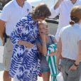 La reine Sofia d'Espagne avec sa petite-fille Irene Urdangarin au club nautique Cala Vela le 28 juillet 2014 à Palma de Majorque.