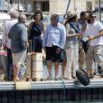 """Exclusif - Gérard Jugnot, Francois Berléand, Mélanie Doutey, Daniel Auteuil et Zabou Breitman - Tournage du film """"Entre amis"""" sur le Vieux Port de Marseille, le 22 juillet 2014."""