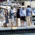 """Exclusif - Gérard Jugnot, Mélanie Doutey et Daniel Auteuil - Tournage du film """"Entre amis"""" sur le Vieux Port de Marseille, le 22 juillet 2014."""