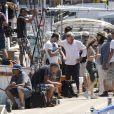 """Exclusif - François Berléand et Zabou Breitman - Tournage du film """"Entre amis"""" sur le Vieux Port de Marseille, le 22 juillet 2014."""