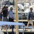 """Exclusif - Daniel Auteuil et Gérard Jugnot - Tournage du film """"Entre amis"""" sur le Vieux Port de Marseille, le 22 juillet 2014."""