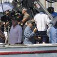 """Exclusif - François Berléand et Gérard Jugnot - Tournage du film """"Entre amis"""" sur le Vieux Port de Marseille, le 22 juillet 2014."""