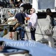 """Exclusif - Olivier Baroux, François Berléand et Zabou Breitman - Tournage du film """"Entre amis"""" sur le Vieux Port de Marseille, le 22 juillet 2014."""