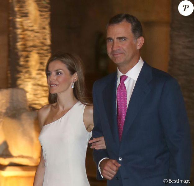 Le roi Felipe VI et la reine Letizia d'Espagne accueillaient le 7 août 2014 à Palma de Majorque, au palais de la Almudaina, près de 300 convives pour une grande réception annuelle en l'honneur des Iles Baléares.
