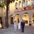 La reine Sofia d'Espagne, la reine Letizia d'Espagne, le roi Felipe VI - Le couple royal espagnol donne une réception officielle au Palais royal de La Almudaina à Palma de Majorque, le 7 août 2014.  Spanish Royals host a reception at La Almudaina Palace. Palma de Mallorca, on August 7th, 2014.07/08/2014 - Palma de Majorque