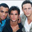 """""""Adel Kachermi, Frank Delay et Filip Nikolic du groupe 2Be3 au festival amérivain de Deauville en 1997."""""""